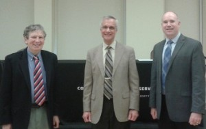Dr. Gary Hess, Dr. Peter Hahn, and Dr. Benjamin Greene, who organized the event and introduced Dr. Hahn