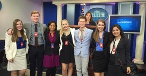"BGSU students joined ""Today Show"" White House correspondent Kristen Welker (front, third from left) and Jackie Calmes, New York Times White House correspondent (at the podium) in the White House Press Room. Seen (left to right) are Becca Barth, Stevon Duey, Anna Crabill, Lucas Stall and Alexis Martinez."