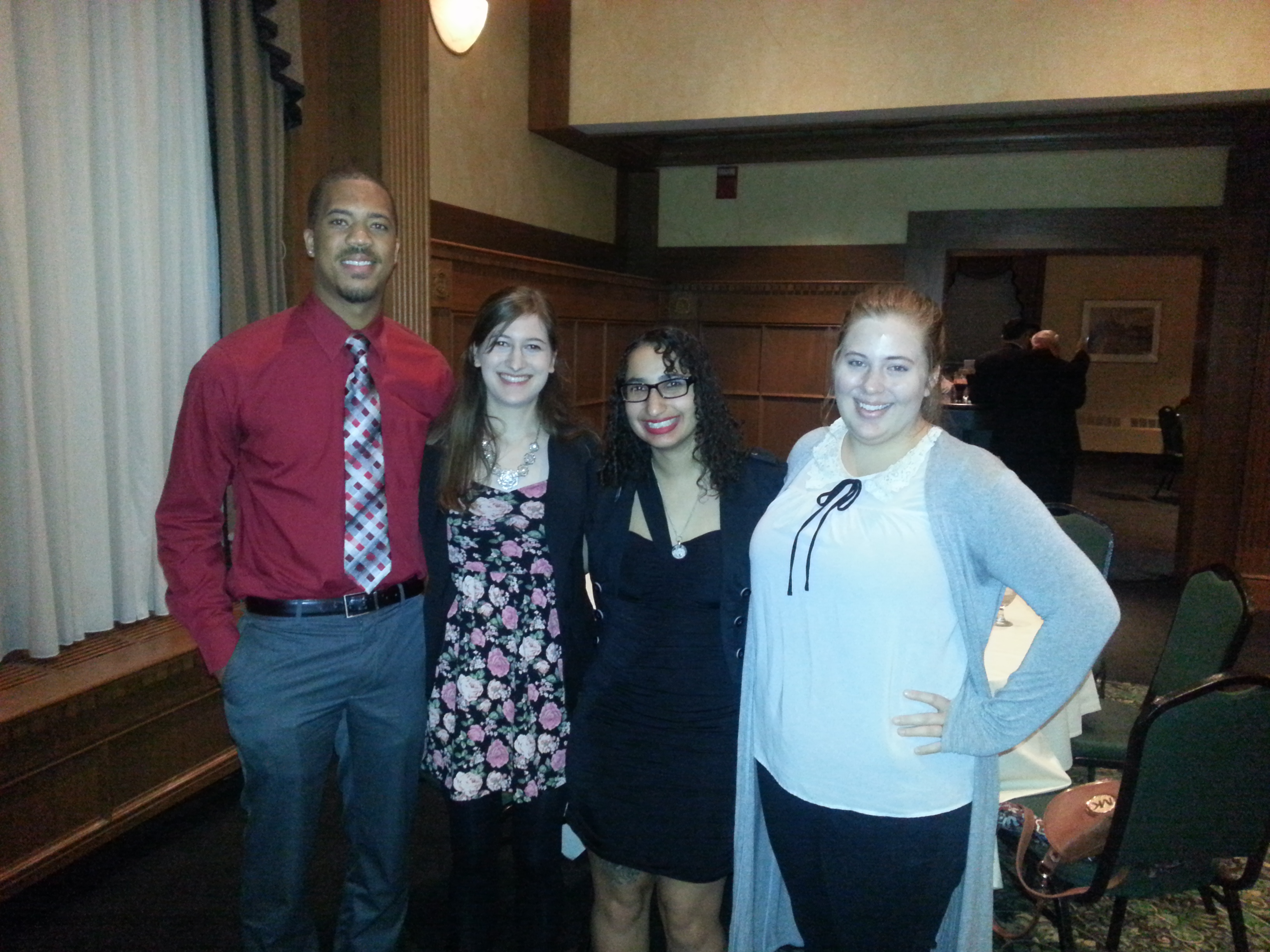 """Bowling Green students Aaron Parker, Annie Furia, Erica Heck and Hannah Benson represented the University at the Oct. 8 Press Club of Toledo Touchstone Awards. Annie Furia was the recipient of a $1,000 Bernard Judy Scholarship as well as being a nominee for a Touchstone award in student journalism. 2015 graduate William Channell won the Excellence in Journalsim Award-- Student Print for his article, """"City of Toledo revitalizes polluted areas, buildings,"""" which focused on regional efforts to clean up a wide variety of contaminated brownfield sites that exist in the area."""