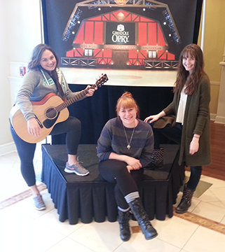 Michele Mathis, Holly Shively and Samantha Sharp pose in the lobby of the hotel in Nashville.  The three BG News editors attended a multimedia workshop at Vanderbilt March 24-25. Photo by Bob Bortel.