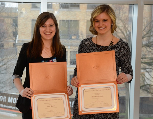 The Florence and Jesse Currier Scholarships were awarded to Annie Furia (senior) and Amy Steigerwald (junior).