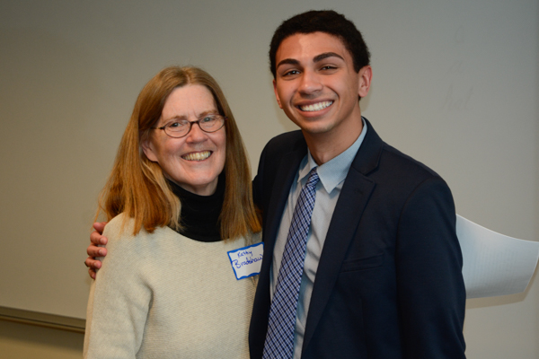 Gary Malveaux, shown with department chair Dr. Kathy Bradshaw, received the Broadcast Sequence Award.