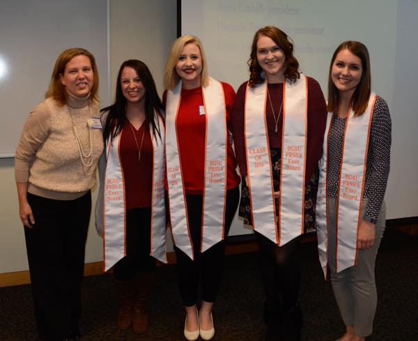 2015-2016 officers of the Public Relations Student Society of America were recognized. From left: Julie Hagenbuch, PRSSA adviser; Hannah Tempel, vice president; Anna Crabill, president; Emily Johnson, social media coordinator; and Kristen Tomins, treasurer.
