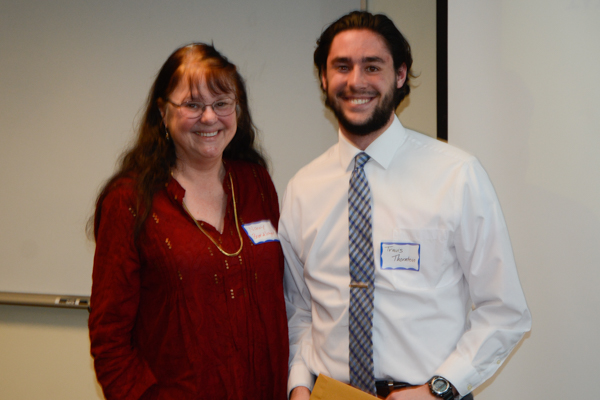 Dr. Nancy Brendlinger, who is retiring at the end of spring semester, handed out the awards. Travis Thornton won the F. Dennis Hale Memorial Scholarship.