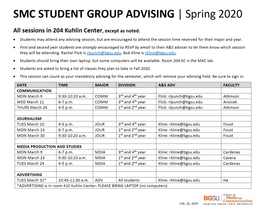 This is the schedule for the SMC student group advising sessions for spring semester 2020.