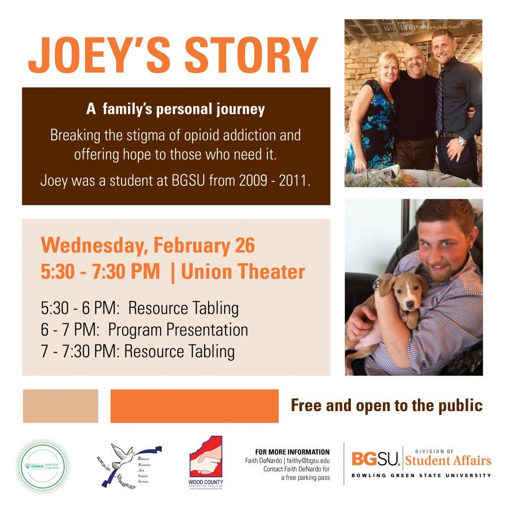 Flier about Joey's Story presentation on Feb. 26.